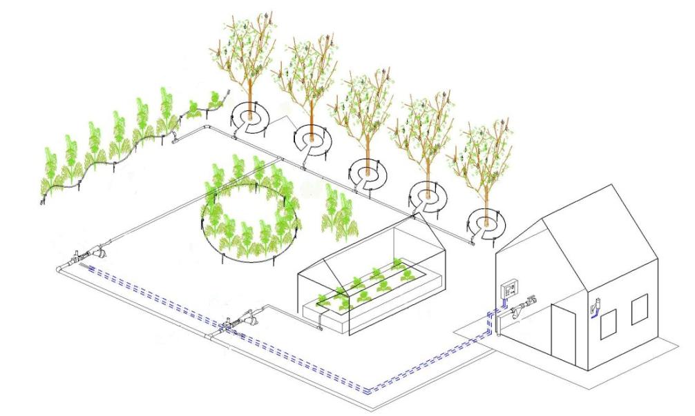 Полив огорода своими руками чертежи
